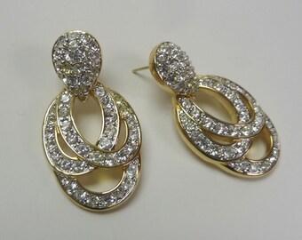 Vintage Swarovski Crystal Pierced Earrings #9658.69