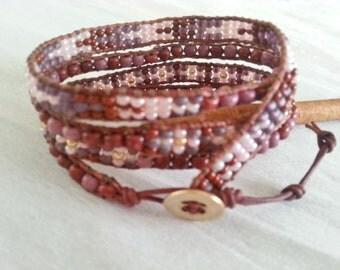4 x leather wrap bracelet, burgundy mix, glass, seed beads