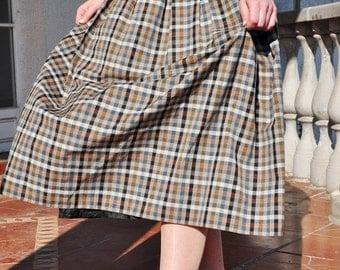 ON SALE Vintage Checkered Plaid Pleated Skirt