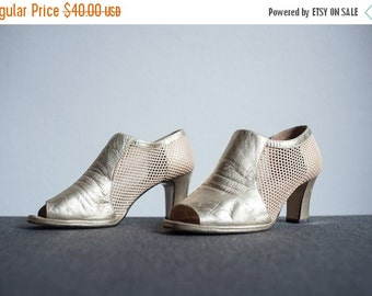 ON SALE Vintage Franco Celin Peep Toe Mesh and Gold Leather High Heel Ankle Shoes Size 7
