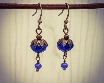 Bright Blue Faceted Glass and Bronze Drop/Dangle Hook Earrings [E87]