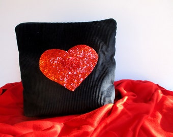 Red heart hand embroidered with red seed beads and sequins  on blue corduroy, Handmade  pouch,  luxe collection