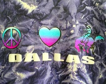 Vintage 1990s Tie Dye I Love Dallas Texas Novelty Psychedelic Trippy Hippie T Shirt Sz L