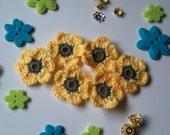 Crochet Flower Appliques. Yellow Crochet Flowers. Handmade Flowers.