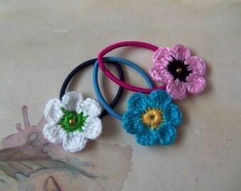 Set of Three Crochet Flower Hair Ties. Crochet Flower Hair Ties.
