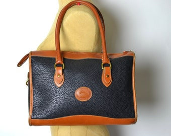 Vintage 80s Large Dooney Navy AWL Speedy Satchel Bag (All Weather Leather)
