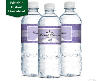 Editable Instant Download - Purple Printable Personalized Bridal Shower Water Bottle Labels, Wedding Shower, Bridal Shower