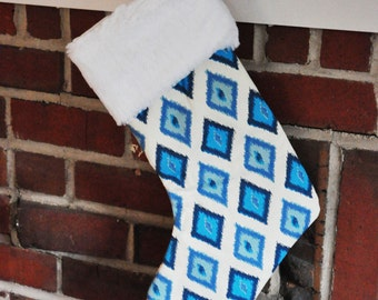 READY TO SHIP Arctic Blue Christmas Stocking Carnival no.301