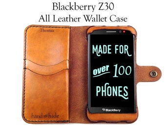 Blackberry Z30 Leather Wallet Case - No Plastic - Free Inscription