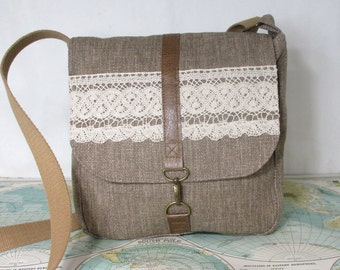 Heirloom lace -- Crossbody messenger bag // Vegan purse // Crossover // Field bag // Satchel // Grey // Adjustable strap // Ready to ship