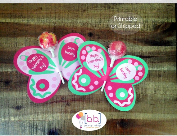 Butterfly Lollipop Personalized Valentine's Day Cards (Pink & Green)- Printable or Shipped