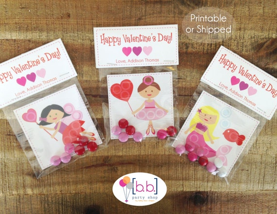 Valentine's Day Card- Ballerina Fairy Mermaid- Candy Treat Bags- Printable or Shipped