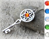 Pentacle Necklace / Pentagram Necklace / Pagan Jewellery / Wiccan Wedding / Wiccan Jewelry / Key to my Heart Necklace / Pagan Alter