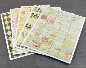 Assorted Cards, Romantic Cards, Vintage Cards, Set of Cards, Blank Greeting Cards, Blank Cards, Handmade Cards, Greeting Card Set, Notes