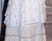 SALE,Vintage,Up-Cycled, Boho Clothing, White Lace Skirt, Waterfall Lace Blouse, Shabby Chic, Romantic,Boho Festival