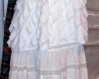 SALE ,Vintage,Up-Cycled, Boho Clothing, White Lace Skirt, Waterfall Lace Blouse, Shabby Chic, Romantic,Boho Festival