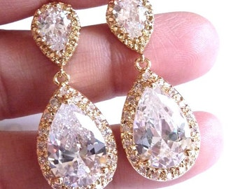 Bridal Earrings Kim Kardashian Inspired White Clear Pear Shaped Cubic Zirconia with Peardrop Gold Plated Post Earrings