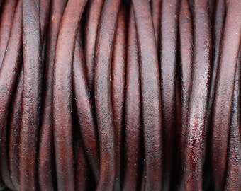 6mm Leather Cord - Antique Brown Distressed Leather Cord Round Natural Dye - 1 Yard Increments
