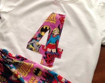Superhero girls shirt / Wonder Woman shirt/ Bat Girl shirt/ Super Girl skirt / Superhero birthday/ Superhero birthday Party/ Superhero shirt