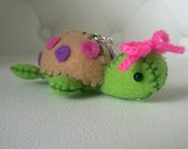 cUstOm oRdeR Green Turtle Plush Keychain Charm Doll Animal Figurine Miniature ooak Gift Cute Kawaii