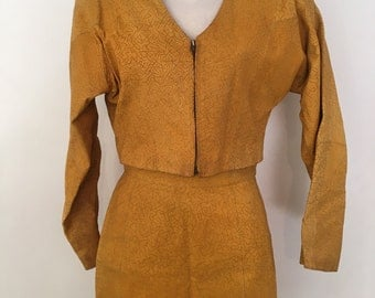 Vintage 80s Leather Suede high waisted skirt and jacket suit set