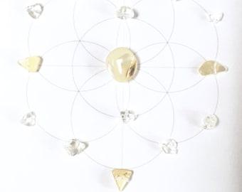 A WEDDING WISH  --- framed sacred crystal grid --- clear quartz, pearl