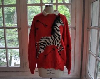 My Little Zebra Novelty Sweater/Vintage 1980s/Cotton Knit Pullover Sweater/Pronto Moda