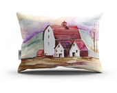 Country Home, Pillow Cover, Original Watercolor Artwork, Super Soft Velveteen 20 x 14 inches