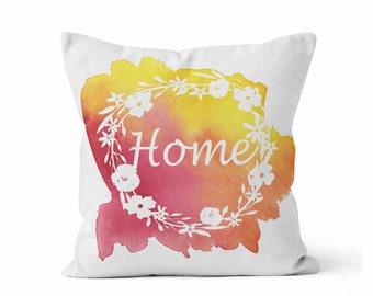 Pillow COVER, HOME Floral Wreath Pillow, Throw Pillow COVER w/optional insert, Decorative Accent Throw Pillow, Original Watercolor Art,