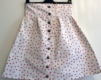 """CLEAR OUT !!! Handmade high-waisted skirt with hearts pattern and large gold buttons: size UK 10 waist 29"""""""