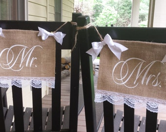 Burlap Chair Banners, Mr and Mrs Chair Banners, Chair Banners, Mr and Mrs Sign, Burlap Wedding, Rustic Wedding, Double Burlap, Deluxe Banner