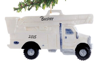 Bucket Utility Truck Personalized Christmas Ornament Your favorite worker, little one's or company name to this made in the USA truck  (125
