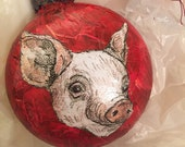 Ornament - *GLASS* - Pig on Red