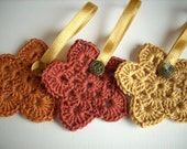 Crochet Christmas star ornaments Set of 3 gold copper and bronze