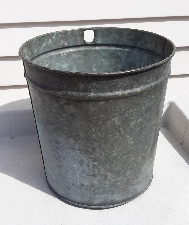 Vintage metal galvanized sap bucket for Old metal buckets