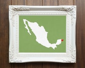 Mexico or ANY Country or State Map - Custom Personalized Heart Print - I Love  Hometown Wall Art Gift - Souvenir Estados Unidos Mexicanos