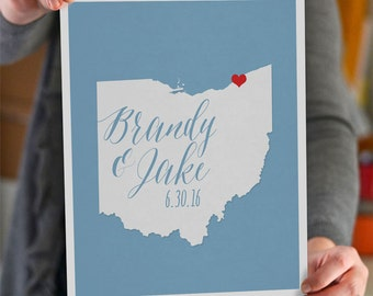 Wedding Gift - Personalized State and Heart - Anniversary - Custom Wedding Date - Location City and State Modern Art Print - 8x10 : Ohio