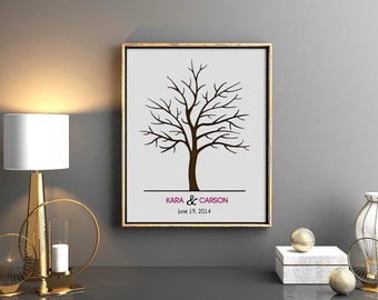 Wedding Tree Guest Book - Finger Print Thumbprint Signature Tree Wall Art Guestbook - Color Font