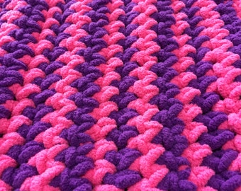 """Pink and Purple Crocheted Blanket Sz 50""""x 36"""" ~ Handmade Blanket ~ Little Girl Blanket ~ Teen Blanket ~ Toddler Blanket ~ Crocheted Blanket"""