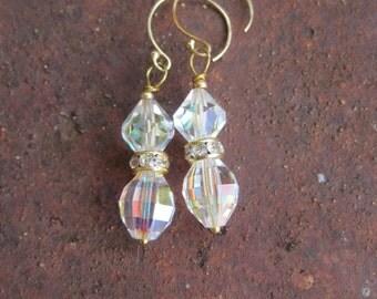 SALE - Crystal Dangle Pierced Earrings - Vintage Crystal Earrings