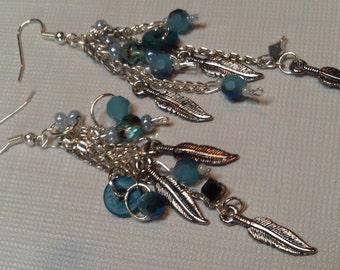 Long Silver & Indigo Beaded Earrings,Bohemian Blue Earrings, Silver  Feather Earrings,Indigo Boho Earrings,Cascading Blue Crystal Earrings