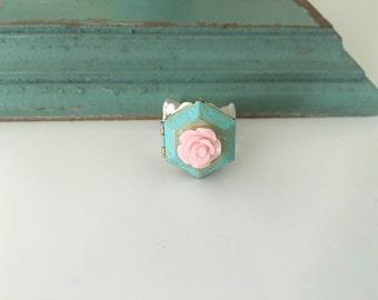 Poison Locket Ring,  hexagon Locket, patina pink rose locket, adjustable ring
