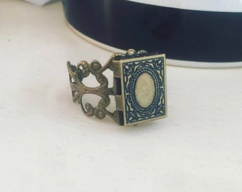 Book Locket Ring Miniature Literary Gift Booklover
