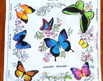 Australian Birds and Australian Butterflies Colorful Cotton Hankies