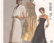 1991 - McCalls 5188 Vintage Sewing Pattern Sizes 8 Bust 31 1/2 Dress Jacket Petite Flared Bolero Jacket Shawl Vollar Strapless Drop Waist