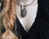 Wire wrapped Quartz amulet necklace | multi stranded copper choker, sari silk , raw Quartz, amulet, pendulum necklace