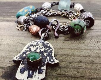Boho choker necklace and bracelet wrap with vintage Hamsa | choker necklace, bracelet wrap, bohemian gypsy