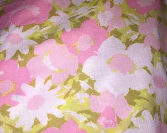 Vintage Floral Flat Full Sheet Pink Floral