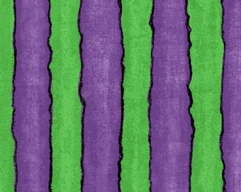 Blank Quilting - Spooktacular Halloween Green/Purple Stripe