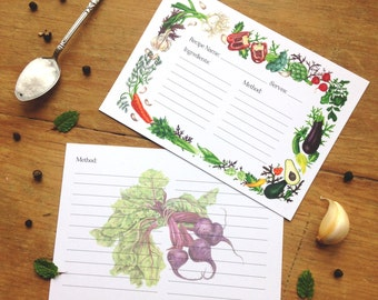 Illustrated Vegetables Recipe Card Pack